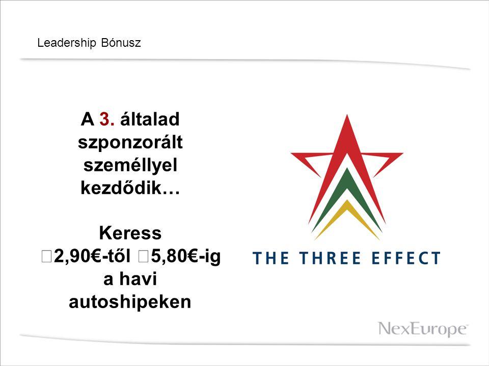 Leadership Bónusz A 3. általad szponzorált személlyel kezdődik… Keress 2,90€-től 5,80€-ig a havi autoshipeken