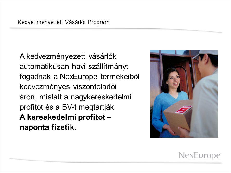Kedvezményezett Vásárlói Program A kedvezményezett vásárlók automatikusan havi szállítmányt fogadnak a NexEurope termékeiből kedvezményes viszonteladó