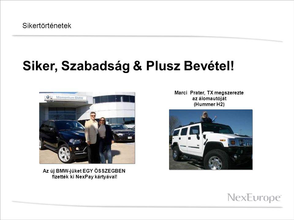 Sikertörténetek Siker, Szabadság & Plusz Bevétel! Az új BMW-jüket EGY ÖSSZEGBEN fizették ki NexPay kártyával! Marci Prater, TX megszerezte az álomautó