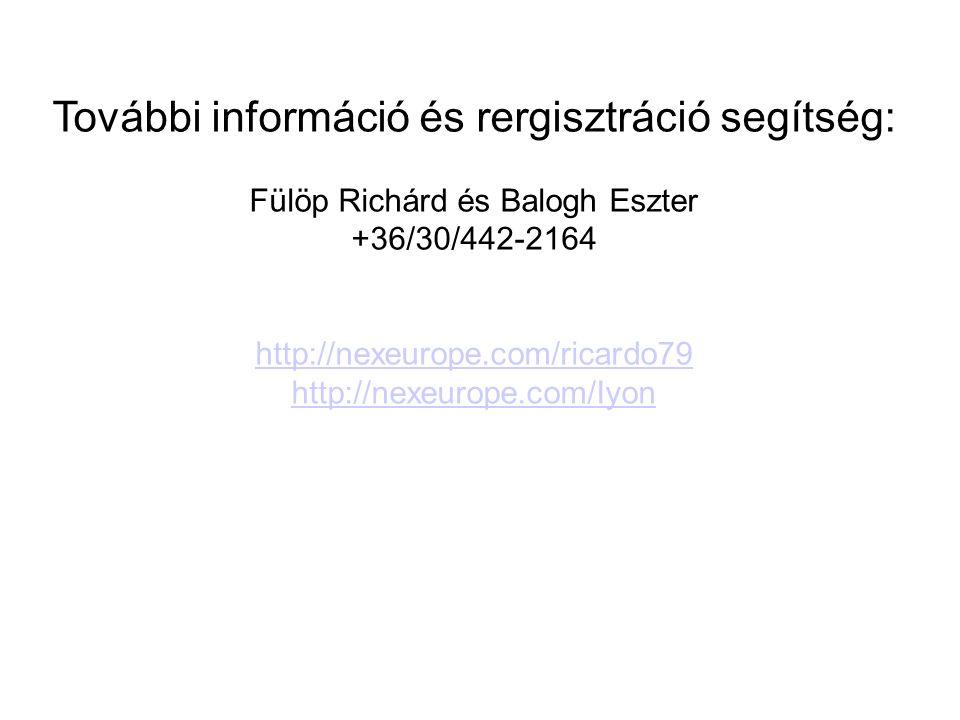 További információ és rergisztráció segítség: Fülöp Richárd és Balogh Eszter +36/30/442-2164 http://nexeurope.com/ricardo79 http://nexeurope.com/Iyon
