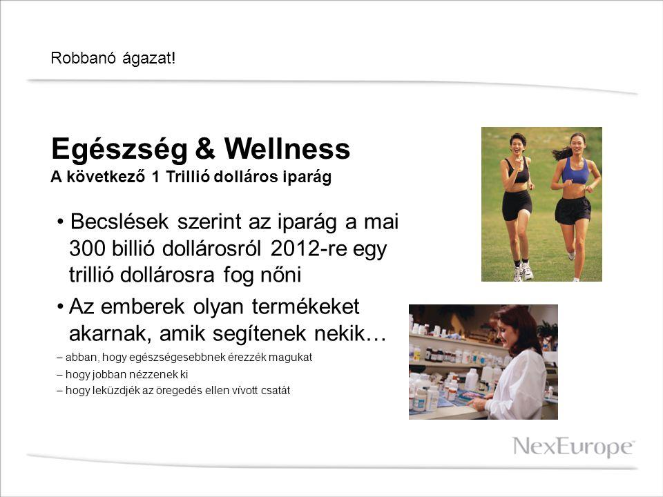Robbanó ágazat! Egészség & Wellness A következő 1 Trillió dolláros iparág Becslések szerint az iparág a mai 300 billió dollárosról 2012-re egy trillió