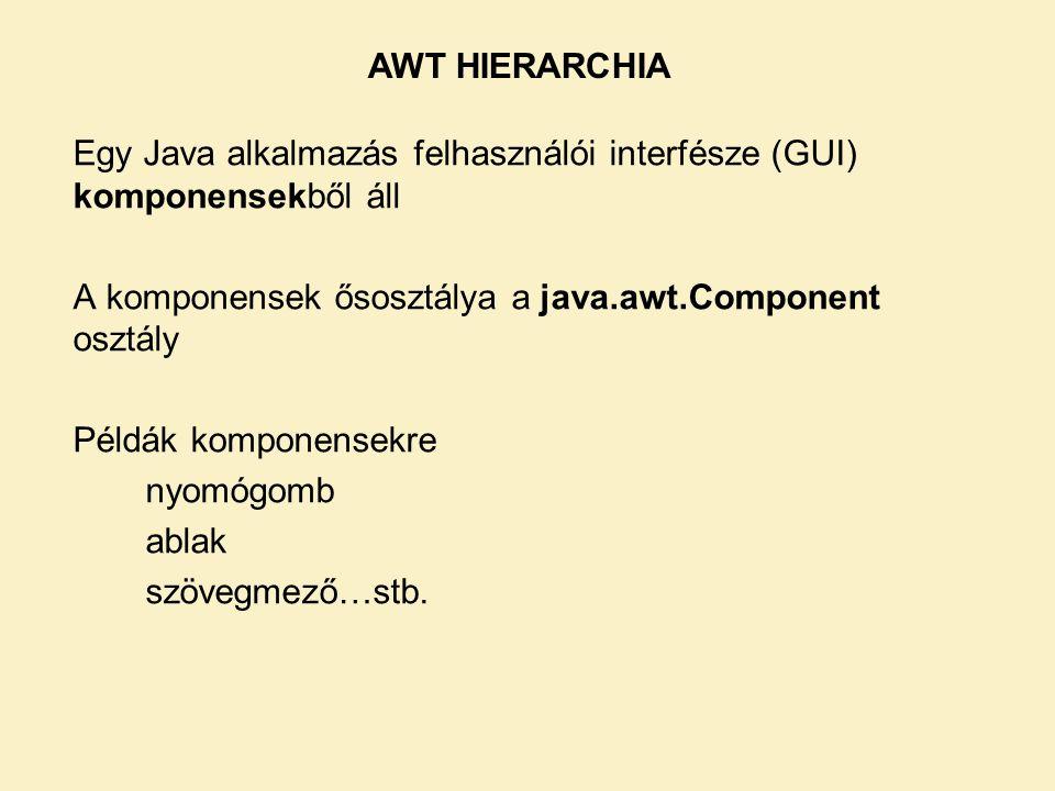 Egy Java alkalmazás felhasználói interfésze (GUI) komponensekből áll A komponensek ősosztálya a java.awt.Component osztály Példák komponensekre nyomóg