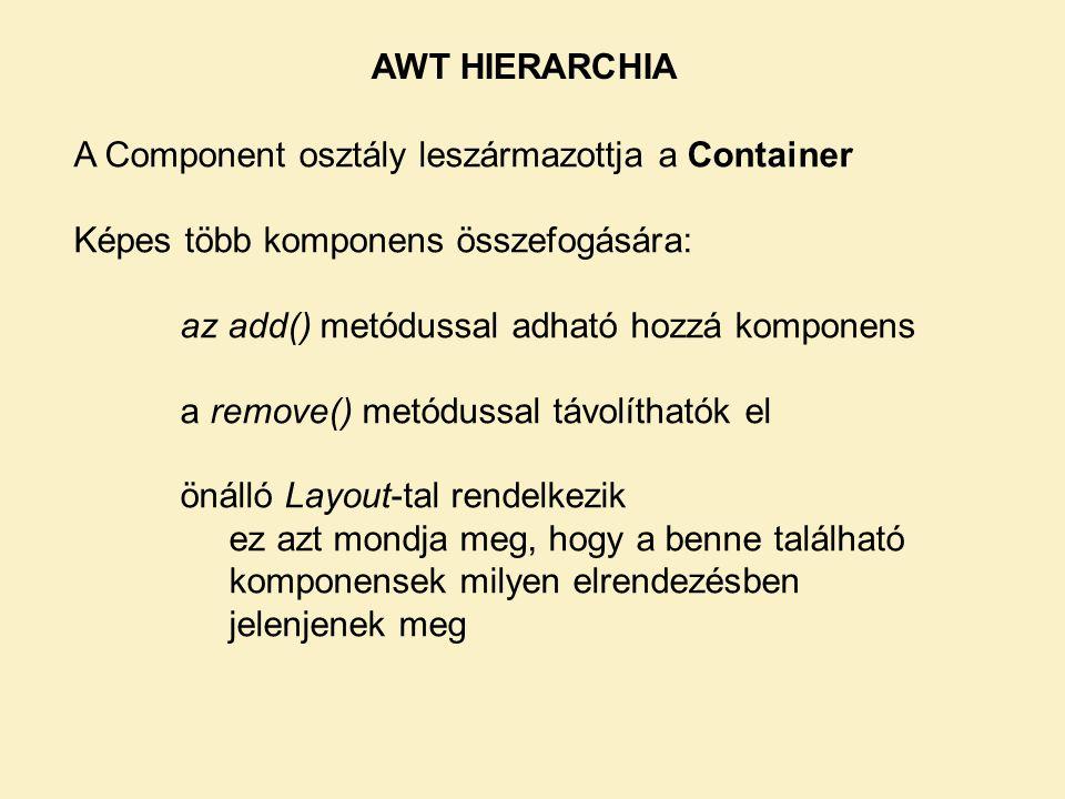 A Component osztály leszármazottja a Container Képes több komponens összefogására: az add() metódussal adható hozzá komponens a remove() metódussal tá