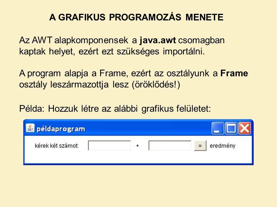 A GRAFIKUS PROGRAMOZÁS MENETE Példa: Hozzuk létre az alábbi grafikus felületet: Az AWT alapkomponensek a java.awt csomagban kaptak helyet, ezért ezt s