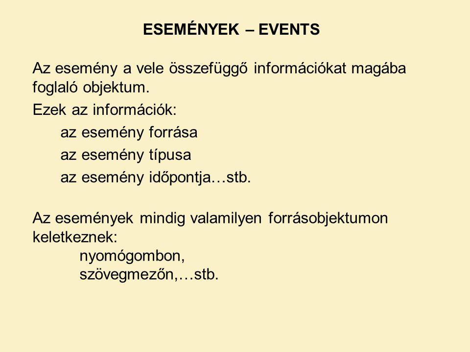 Az esemény a vele összefüggő információkat magába foglaló objektum. Ezek az információk: az esemény forrása az esemény típusa az esemény időpontja…stb