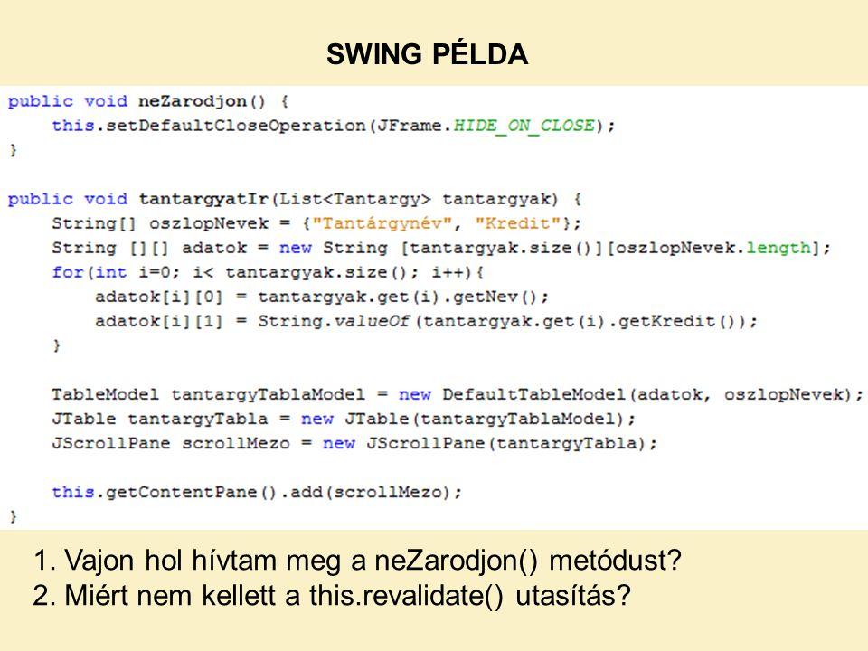 1. Vajon hol hívtam meg a neZarodjon() metódust? 2. Miért nem kellett a this.revalidate() utasítás?