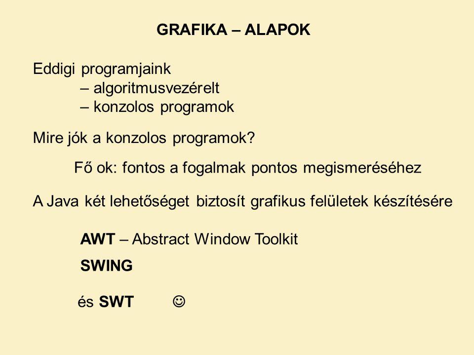 GRAFIKA – ALAPOK A Java két lehetőséget biztosít grafikus felületek készítésére AWT – Abstract Window Toolkit SWING Mire jók a konzolos programok? Edd
