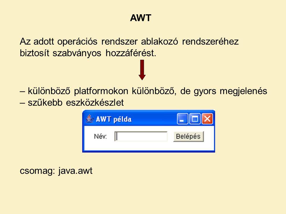 AWT Az adott operációs rendszer ablakozó rendszeréhez biztosít szabványos hozzáférést. – különböző platformokon különböző, de gyors megjelenés – szűke