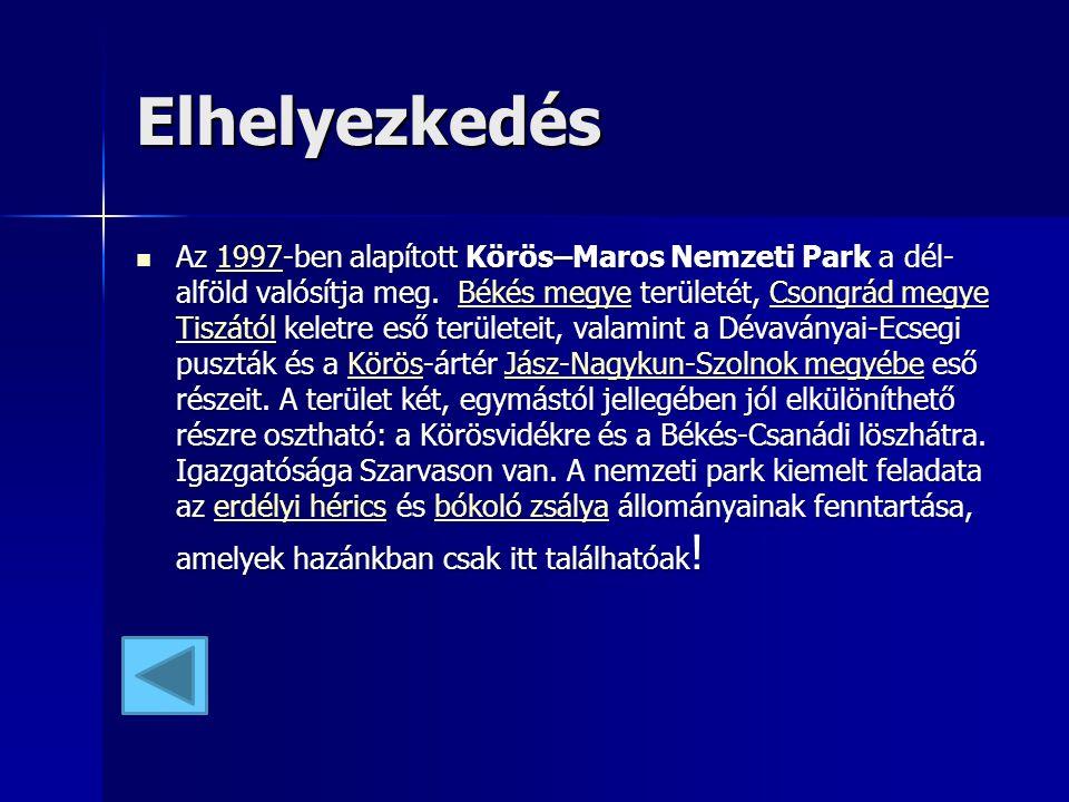 Elhelyezkedés Az 1997-ben alapított Körös–Maros Nemzeti Park a dél- alföld valósítja meg. Békés megye területét, Csongrád megye Tiszától keletre eső t