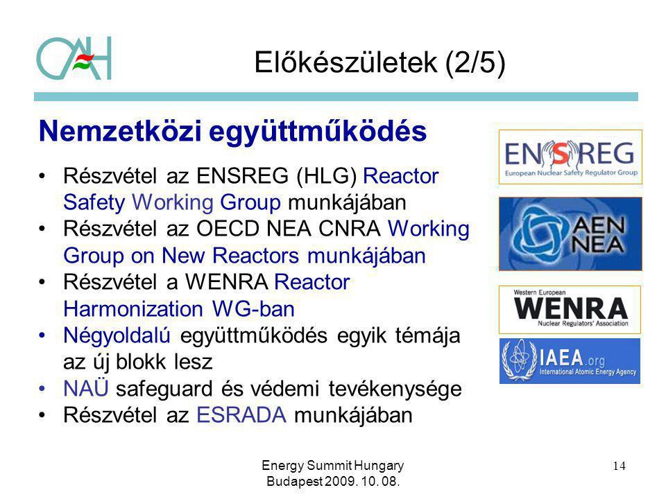 Előkészületek (2/5) Nemzetközi együttműködés Részvétel az ENSREG (HLG) Reactor Safety Working Group munkájában Részvétel az OECD NEA CNRA Working Grou