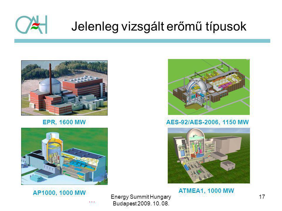 EPR, 1600 MWAES-92/AES-2006, 1150 MW AP1000, 1000 MW ATMEA1, 1000 MW … Jelenleg vizsgált erőmű típusok 17Energy Summit Hungary Budapest 2009. 10. 08.