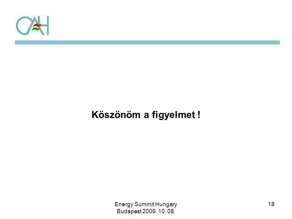 18 Köszönöm a figyelmet ! Energy Summit Hungary Budapest 2009. 10. 08.