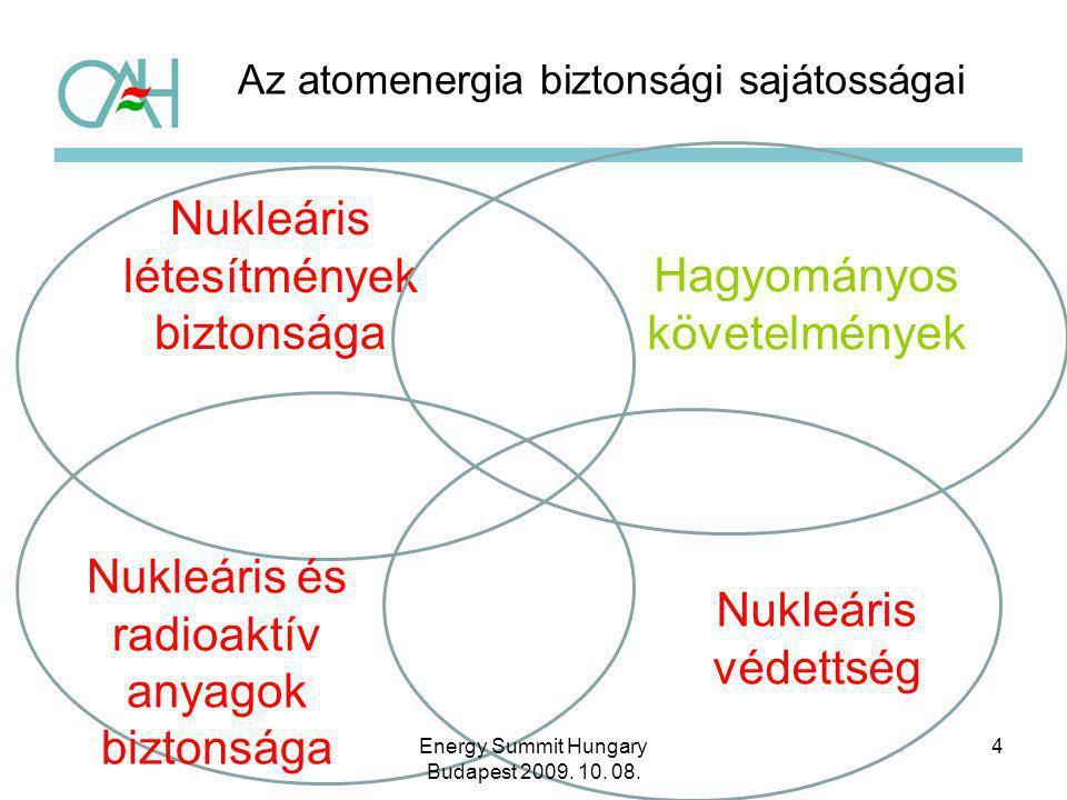 Az atomenergia biztonsági sajátosságai 4 Nukleáris létesítmények biztonsága Hagyományos követelmények Nukleáris védettség Nukleáris és radioaktív anya