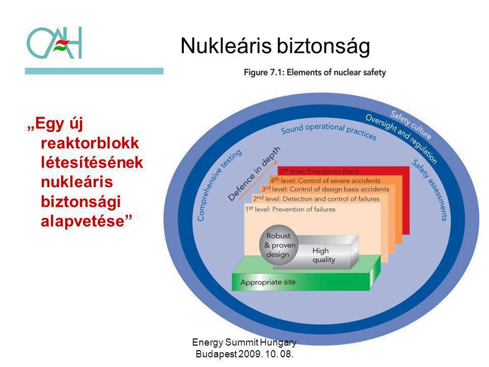 """Nukleáris biztonság """"Egy új reaktorblokk létesítésének nukleáris biztonsági alapvetése"""" 5 Energy Summit Hungary Budapest 2009. 10. 08."""