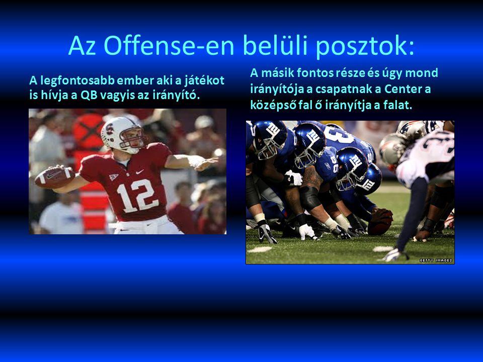 Az Offense-en belüli posztok: A legfontosabb ember aki a játékot is hívja a QB vagyis az irányító.