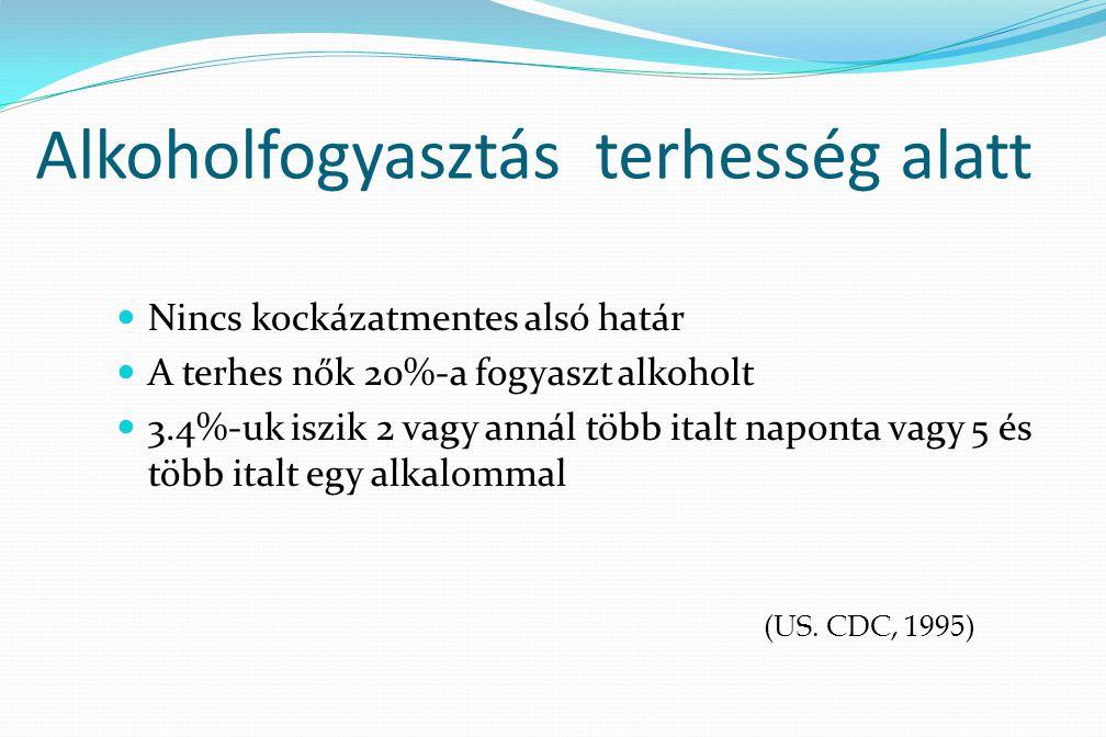 Alkoholfogyasztás terhesség alatt Nincs kockázatmentes alsó határ A terhes nők 20%-a fogyaszt alkoholt 3.4%-uk iszik 2 vagy annál több italt naponta v