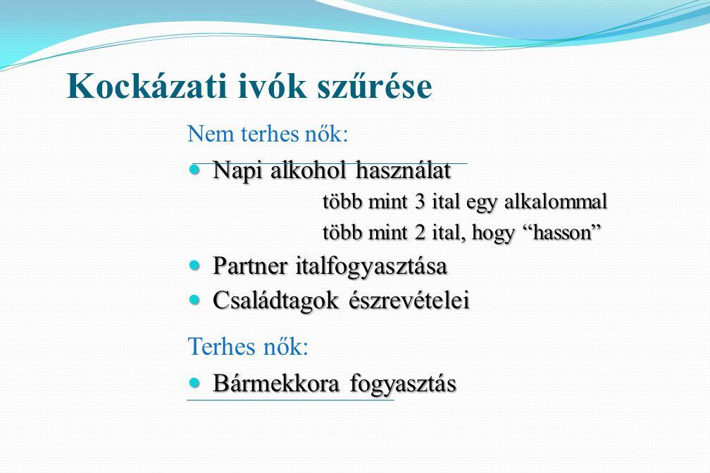 """Kockázati ivók szűrése Nem terhes nők: Napi alkohol használat Napi alkohol használat több mint 3 ital egy alkalommal több mint 2 ital, hogy """"hasson"""" P"""