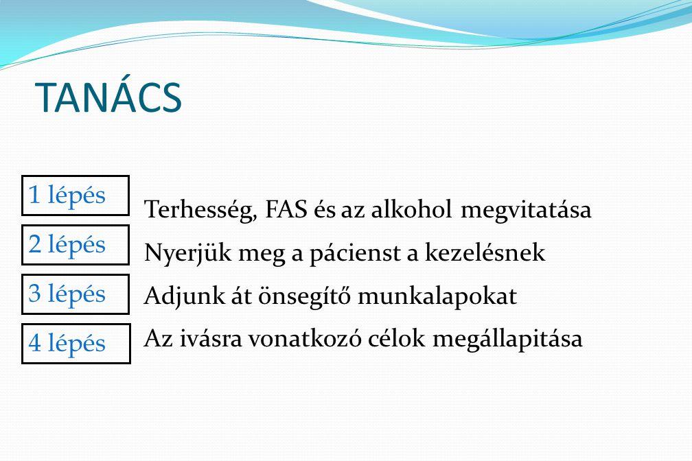 TANÁCS Terhesség, FAS és az alkohol megvitatása Nyerjük meg a pácienst a kezelésnek Adjunk át önsegítő munkalapokat Az ivásra vonatkozó célok megállap
