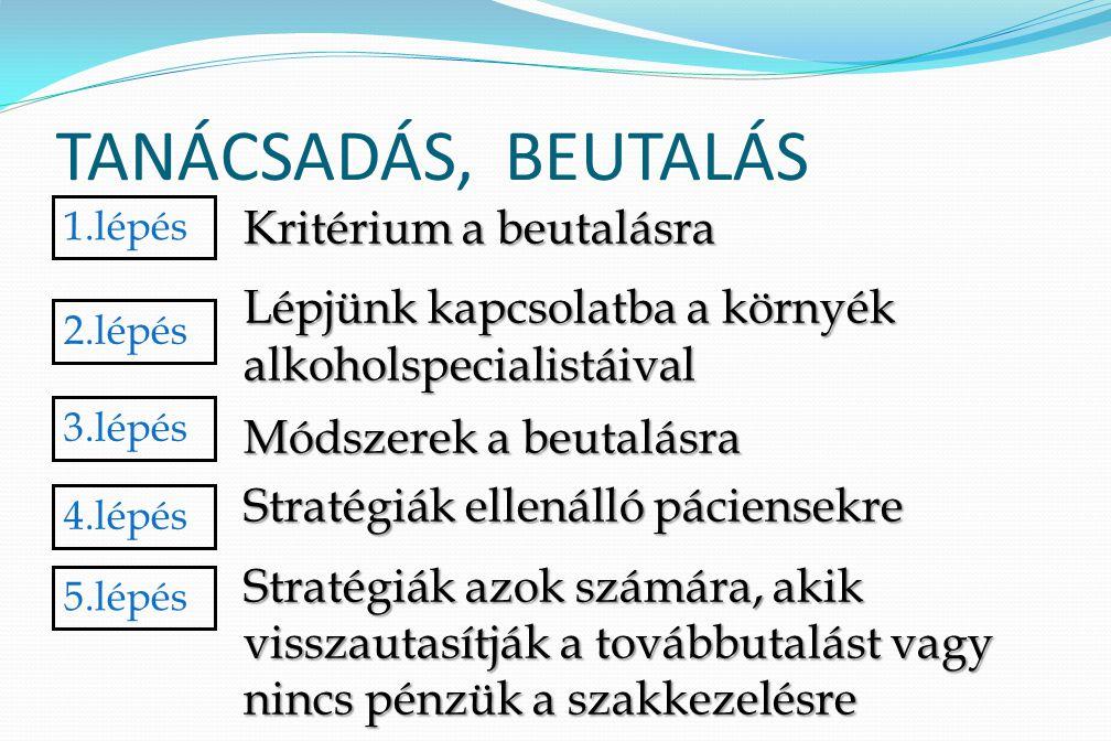 TANÁCSADÁS, BEUTALÁS Kritérium a beutalásra Lépjünk kapcsolatba a környék alkoholspecialistáival Módszerek a beutalásra Stratégiák ellenálló páciensek