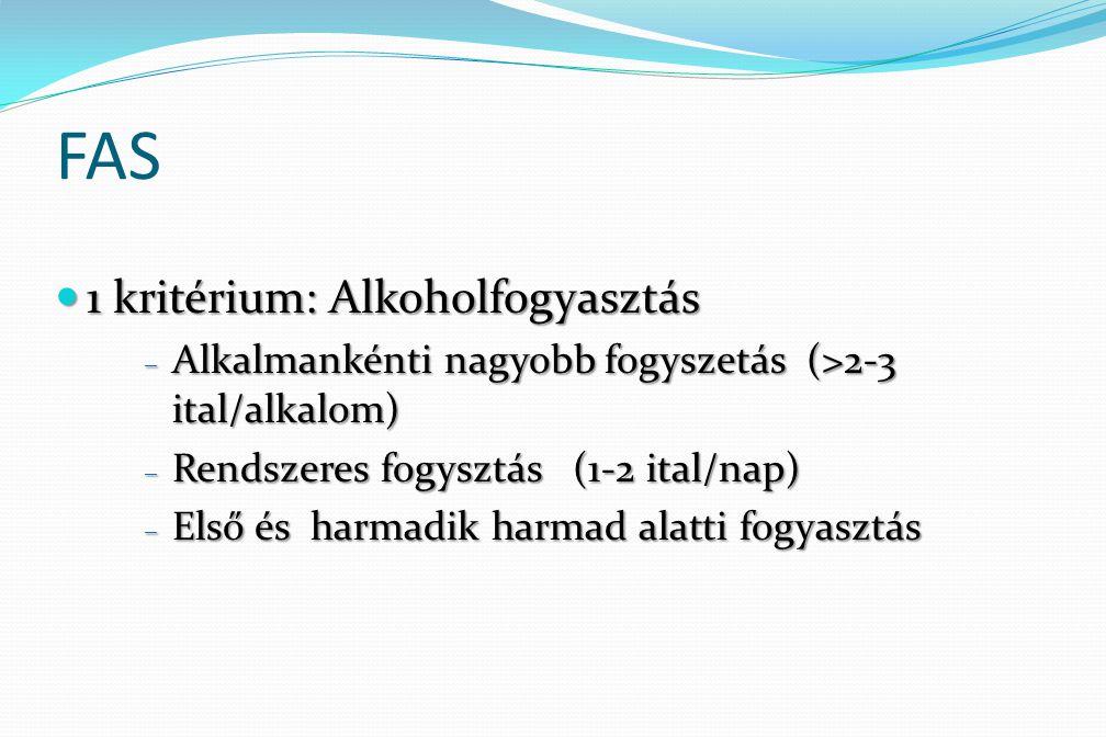FAS 1 kritérium: Alkoholfogyasztás 1 kritérium: Alkoholfogyasztás – Alkalmankénti nagyobb fogyszetás (>2-3 ital/alkalom) – Rendszeres fogysztás (1-2 i