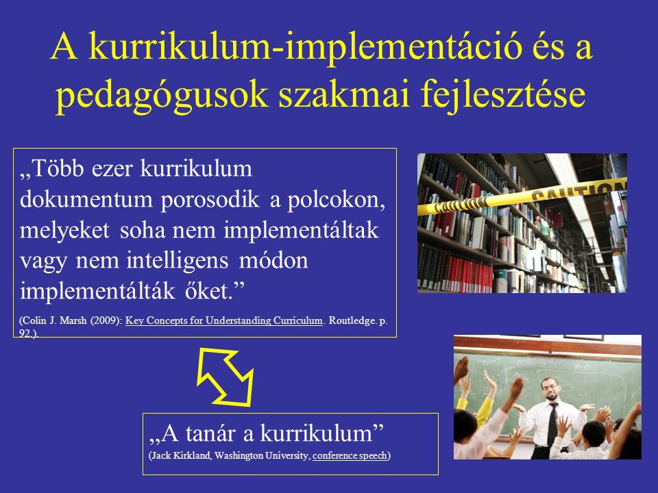 """A kurrikulum-implementáció és a pedagógusok szakmai fejlesztése """"Több ezer kurrikulum dokumentum porosodik a polcokon, melyeket soha nem implementálta"""
