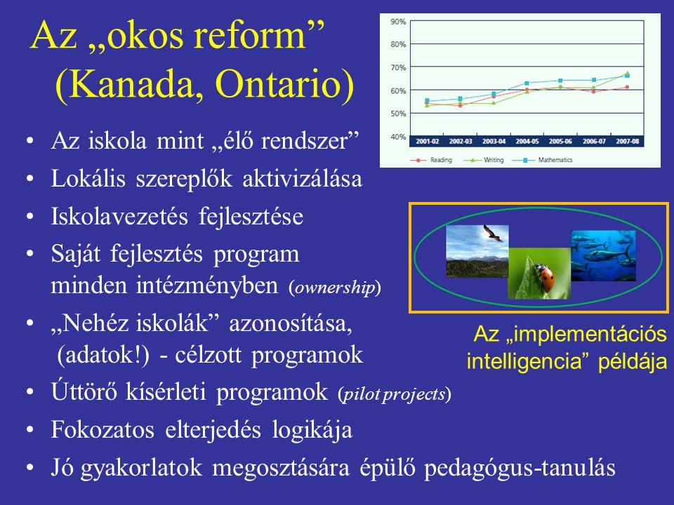 """Az """"okos reform"""" (Kanada, Ontario) Az iskola mint """"élő rendszer"""" Lokális szereplők aktivizálása Iskolavezetés fejlesztése Saját fejlesztés program min"""