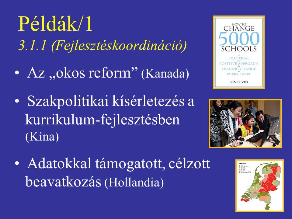 Példák/2 3.1.5 (Pedagógusok szakmai fejlesztése) Iskolai gyakorlatba ágyazott fejlesztés (Németország) Közös tanulást támogató tudásépítés (Japán) Intelligens, fejlesztő tanárértékelés (Chile)