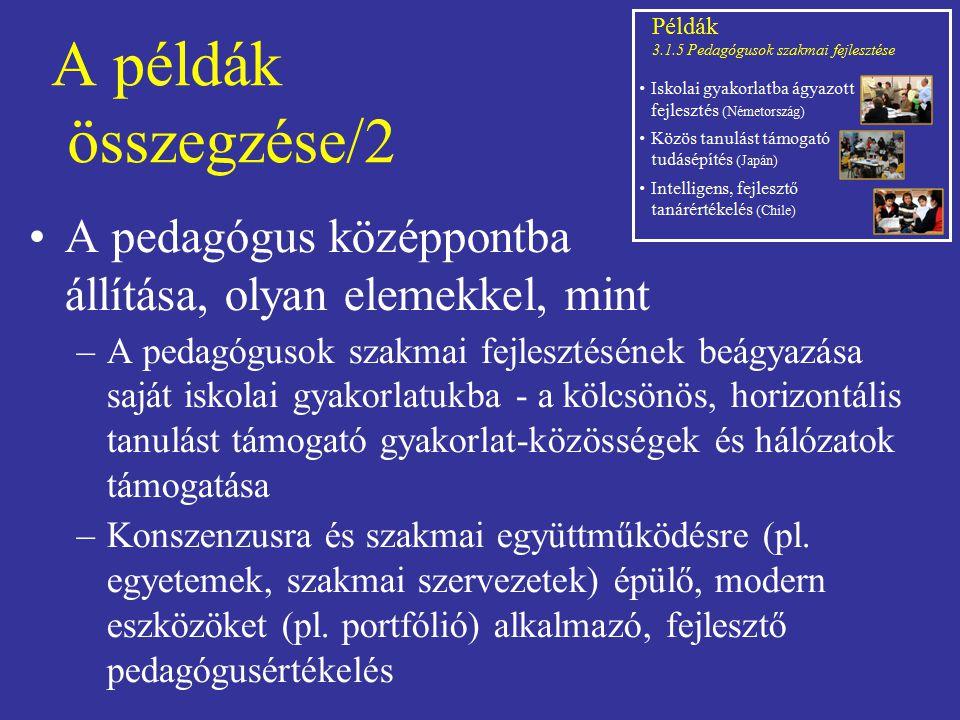 A példák összegzése/2 A pedagógus középpontba állítása, olyan elemekkel, mint –A pedagógusok szakmai fejlesztésének beágyazása saját iskolai gyakorlat
