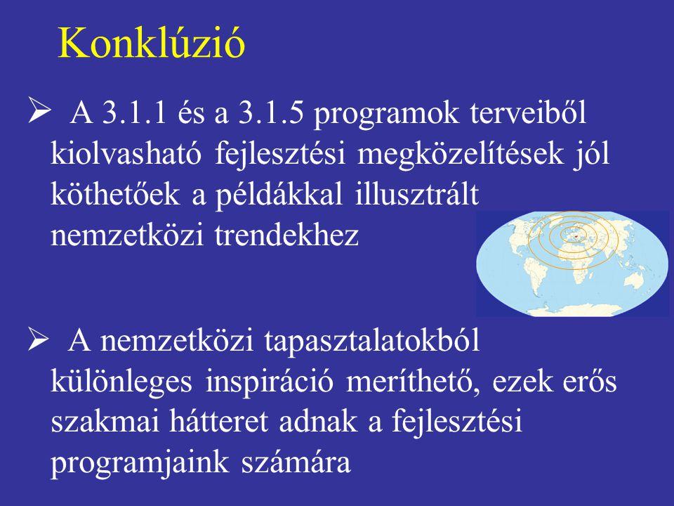 Konklúzió  A 3.1.1 és a 3.1.5 programok terveiből kiolvasható fejlesztési megközelítések jól köthetőek a példákkal illusztrált nemzetközi trendekhez