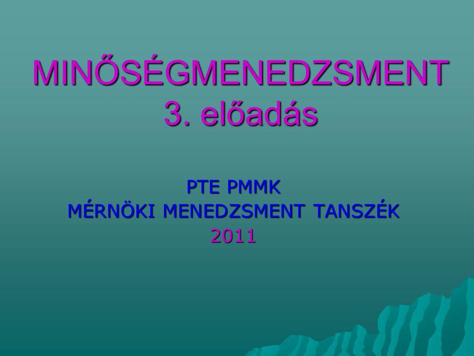 MINŐSÉGMENEDZSMENT 3. előadás PTE PMMK MÉRNÖKI MENEDZSMENT TANSZÉK 2011