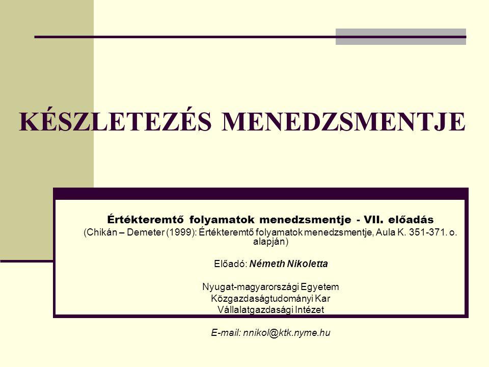 KÉSZLETEZÉS MENEDZSMENTJE Értékteremtő folyamatok menedzsmentje - VII. előadás (Chikán – Demeter (1999): Értékteremtő folyamatok menedzsmentje, Aula K