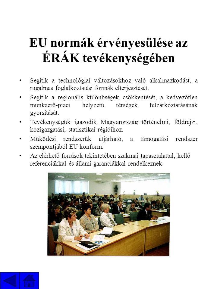 EU normák érvényesülése az ÉRÁK tevékenységében Segítik a technológiai változásokhoz való alkalmazkodást, a rugalmas foglalkoztatási formák elterjesztését.