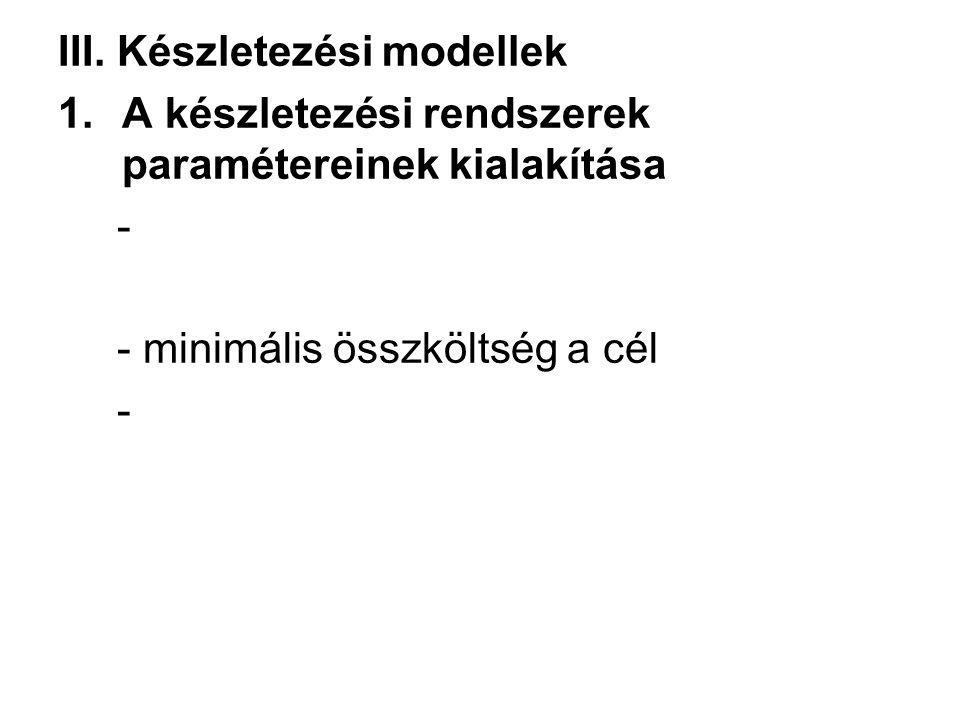 III. Készletezési modellek 1.A készletezési rendszerek paramétereinek kialakítása - - minimális összköltség a cél -