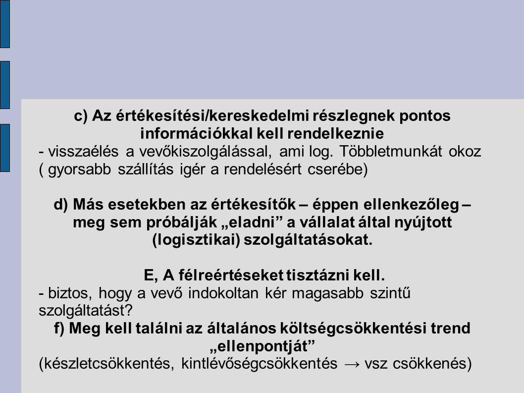 c) Az értékesítési/kereskedelmi részlegnek pontos információkkal kell rendelkeznie - visszaélés a vevőkiszolgálással, ami log. Többletmunkát okoz ( gy