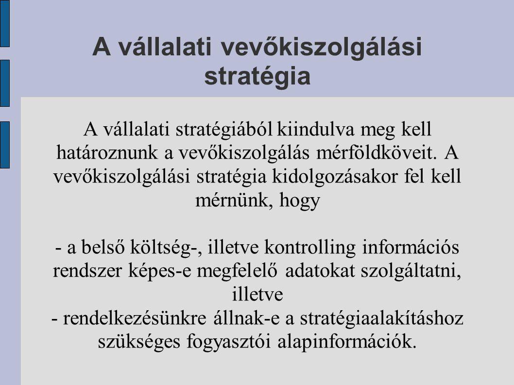 A vállalati vevőkiszolgálási stratégia A vállalati stratégiából kiindulva meg kell határoznunk a vevőkiszolgálás mérföldköveit. A vevőkiszolgálási str