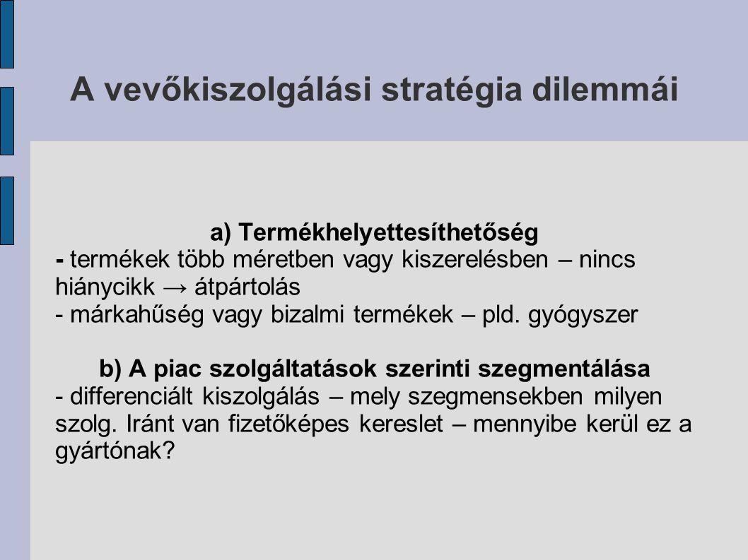 A vevőkiszolgálási stratégia dilemmái a) Termékhelyettesíthetőség - termékek több méretben vagy kiszerelésben – nincs hiánycikk → átpártolás - márkahű