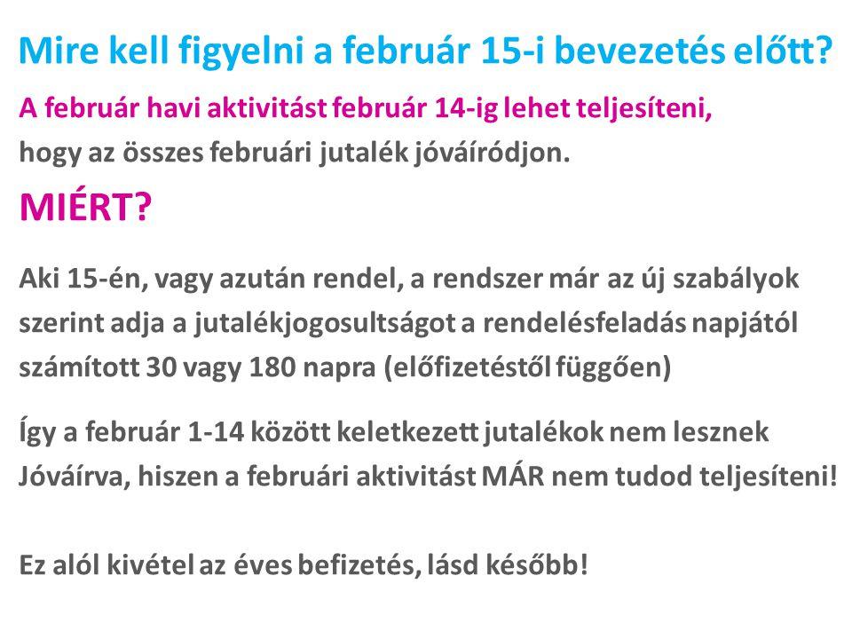 Mire kell figyelni a február 15-i bevezetés előtt? A február havi aktivitást február 14-ig lehet teljesíteni, hogy az összes februári jutalék jóváíród