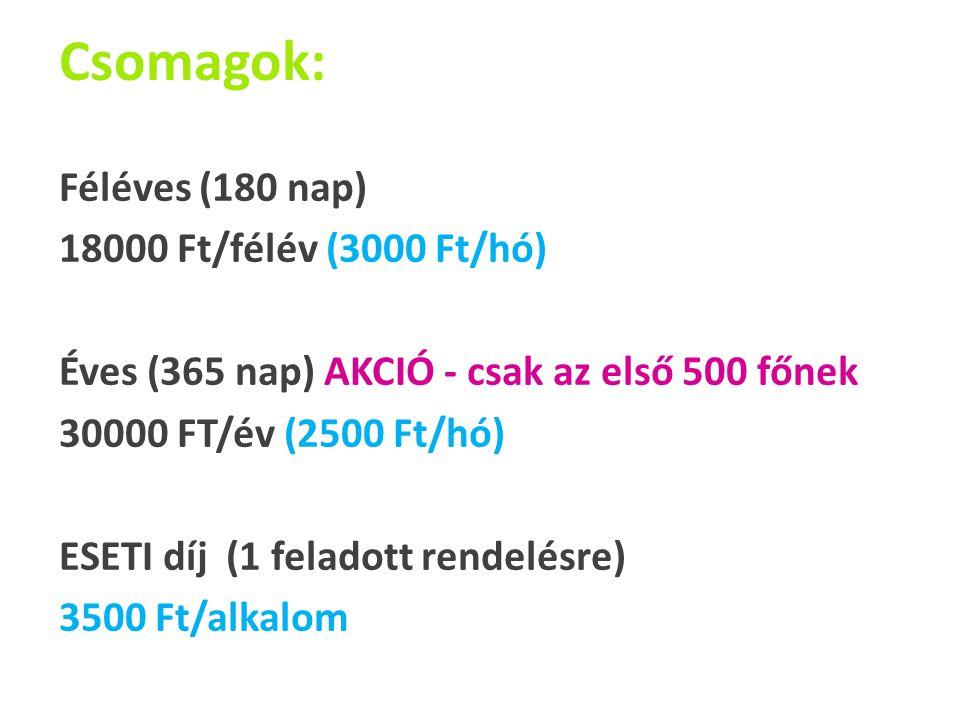 Csomagok: Féléves (180 nap) 18000 Ft/félév (3000 Ft/hó) Éves (365 nap) AKCIÓ - csak az első 500 főnek 30000 FT/év (2500 Ft/hó) ESETI díj (1 feladott rendelésre) 3500 Ft/alkalom