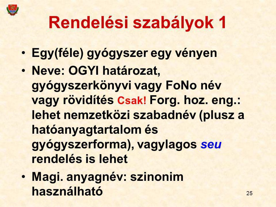 25 Rendelési szabályok 1 Egy(féle) gyógyszer egy vényen Neve: OGYI határozat, gyógyszerkönyvi vagy FoNo név vagy rövidítés Csak! Forg. hoz. eng.: lehe