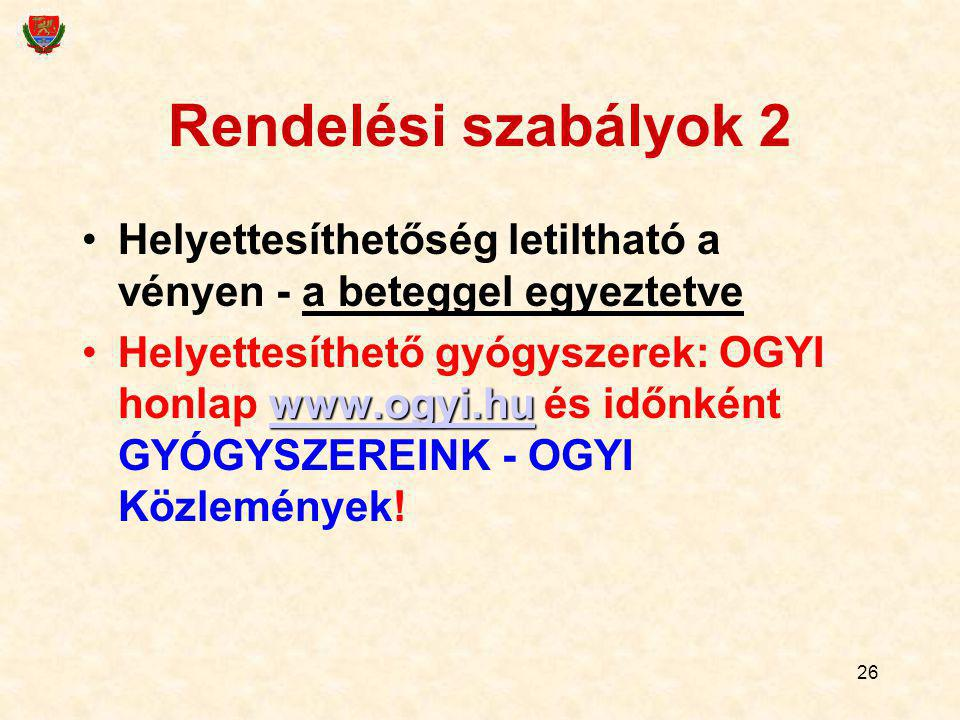 26 Rendelési szabályok 2 Helyettesíthetőség letiltható a vényen - a beteggel egyeztetve www.ogyi.hu www.ogyi.huHelyettesíthető gyógyszerek: OGYI honla