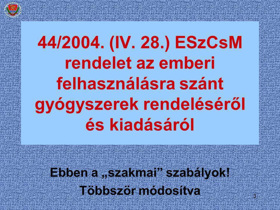 """3 44/2004. (IV. 28.) ESzCsM rendelet az emberi felhasználásra szánt gyógyszerek rendeléséről és kiadásáról Ebben a """"szakmai"""" szabályok! Többször módos"""
