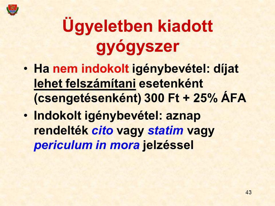 43 Ügyeletben kiadott gyógyszer Ha nem indokolt igénybevétel: díjat lehet felszámítani esetenként (csengetésenként) 300 Ft + 25% ÁFA Indokolt igénybev