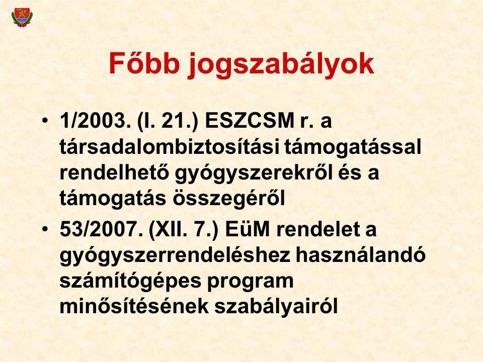 Főbb jogszabályok 1/2003. (I. 21.) ESZCSM r. a társadalombiztosítási támogatással rendelhető gyógyszerekről és a támogatás összegéről 53/2007. (XII. 7