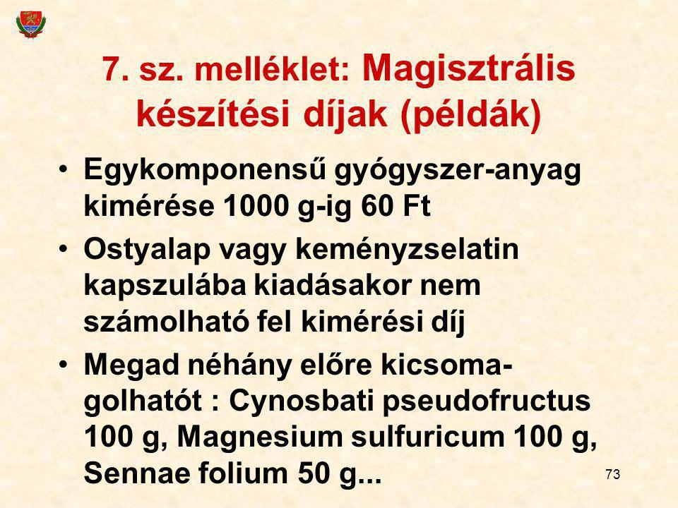 73 7. sz. melléklet: Magisztrális készítési díjak (példák) Egykomponensű gyógyszer-anyag kimérése 1000 g-ig 60 Ft Ostyalap vagy keményzselatin kapszul