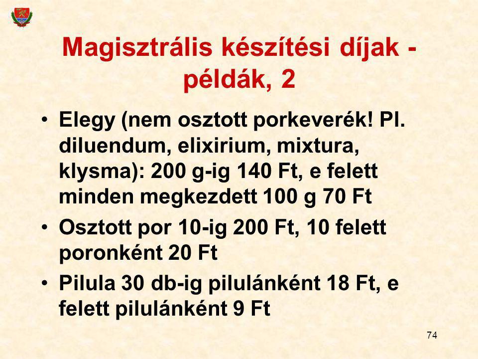 74 Magisztrális készítési díjak - példák, 2 Elegy (nem osztott porkeverék! Pl. diluendum, elixirium, mixtura, klysma): 200 g-ig 140 Ft, e felett minde