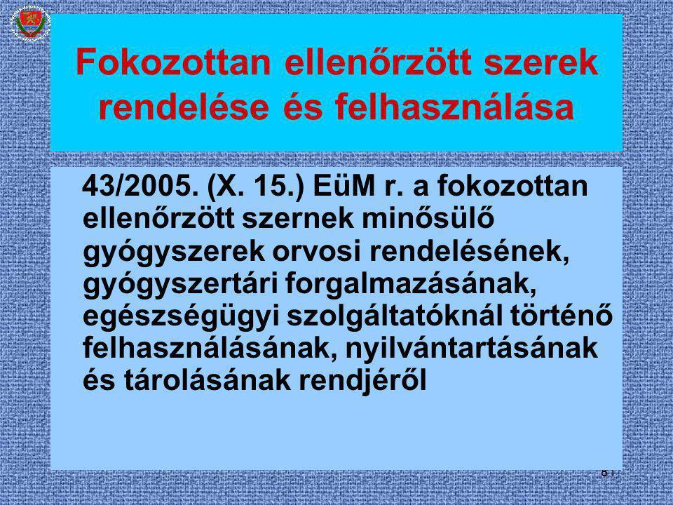 81 Fokozottan ellenőrzött szerek rendelése és felhasználása 43/2005. (X. 15.) EüM r. a fokozottan ellenőrzött szernek minősülő gyógyszerek orvosi rend