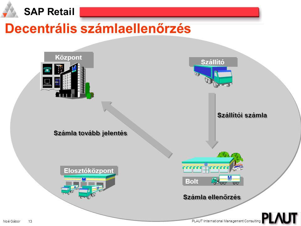 Noé Gábor 13 PLAUT International Management Consulting SAP Retail Decentrális számlaellenőrzés M M M Bolt M M M Elosztóközpont Szállító Központ Számla