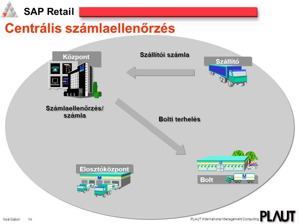 Noé Gábor 14 PLAUT International Management Consulting SAP Retail Centrális számlaellenőrzés M M M Bolt M M M Elosztóközpont Szállító Központ Bolti te