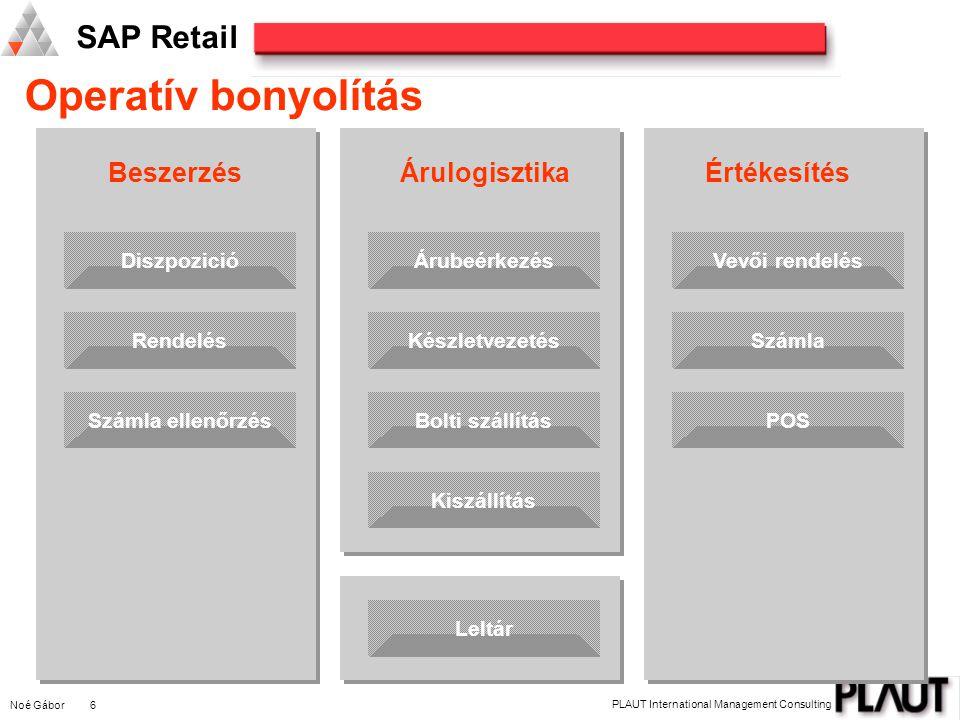 Noé Gábor 6 PLAUT International Management Consulting SAP Retail Operatív bonyolítás DiszpozicióRendelésSzámla ellenőrzés Beszerzés ÁrubeérkezésKészle