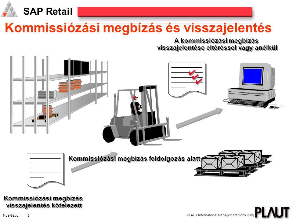 Noé Gábor 8 PLAUT International Management Consulting SAP Retail Kommissiózási megbízás és visszajelentés A kommissiózási megbízás visszajelentése elt